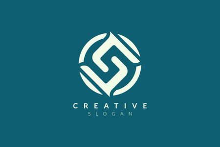 The logo design combines the letter S in a circle. Minimalist and modern vector illustration design suitable for business and brands  イラスト・ベクター素材