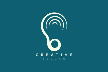Ear logo design with sound waveforms. Minimalist and modern vector illustration design suitable for community, business, and product brands. Vettoriali