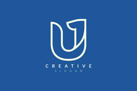 The logo design combines the letter U with the number one. Minimalist and modern vector illustration design suitable for business or brand  イラスト・ベクター素材
