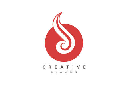 Logo design combines circle with fire. Minimalist and modern vector illustration design suitable for business or brand  イラスト・ベクター素材