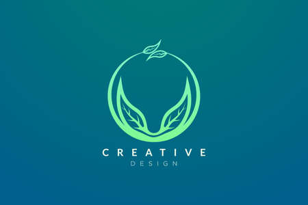 Leaf and circle combination logo design for spa, hotel, beauty, health, fashion, cosmetic, boutique, salon, yoga, therapy. Simple and modern vector design for your business brand or product