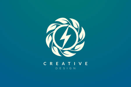 Lightning and leaf shape design ideas combined. Modern minimalist and elegant vector illustration. Can be used for patterns, labels, brands, icons or logos