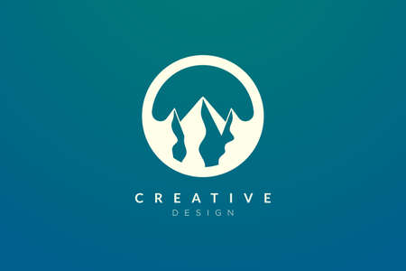 Logo design that combines circle objects with mountains. Minimalist and modern vector design for your business brand or product  イラスト・ベクター素材