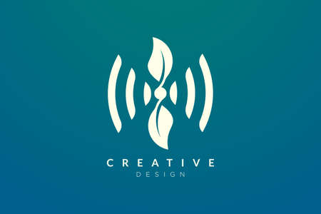 Design ideas for sound waves and leaves are combined. Modern minimalist and elegant vector illustration. Can be used for patterns, labels, brands, icons or logos Illustration