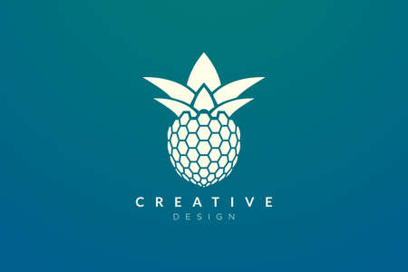 Pineapple design ideas technology style. Modern minimalist and elegant vector illustration. Can be used for patterns, labels, brands, icons or logos