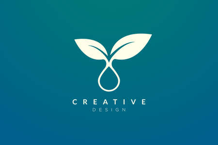The design of the leaf and water droplet are combined. Modern minimalist and elegant vector illustration. Suitable for patterns, labels, brands, icons or logos