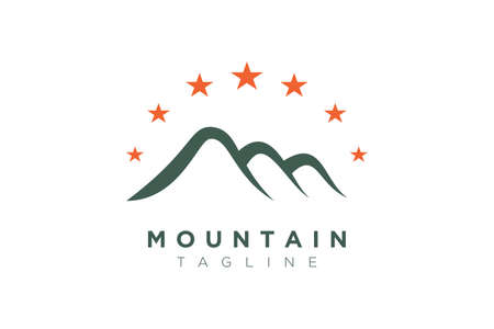 Design of a combination of mountain and stars. Minimalist and simple vector