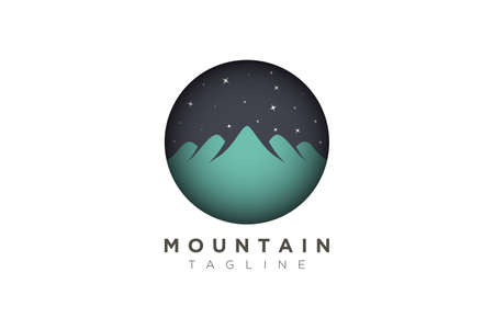 vector design of a mountain at night with stars. Minimalistic and simple in a circle