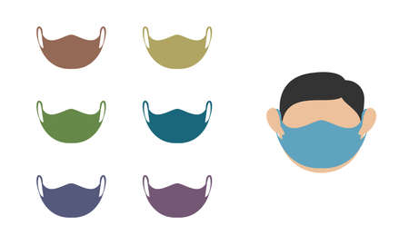 Set of medical face protection mask icons. Isolated vector icon on a white background