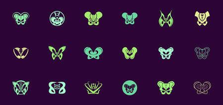 pelvic abstract logo design set, logo templates for medical