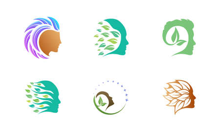 Leaf face shape logo design template. Set of graphic elements, perfect for business brands related to beauty