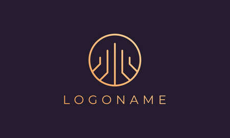 Property logo template with simple and luxurious shapes in gold Ilustracja