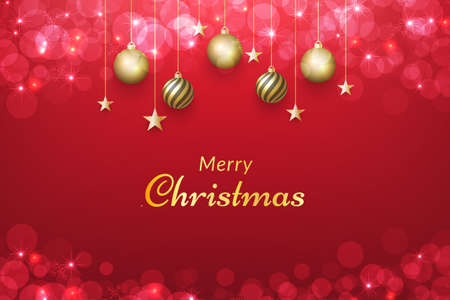 Red christmas background with gold ornaments and glowing bokeh effect. vector for design invitations, advertisements, banners, posters, greeting cards, social media posts and more