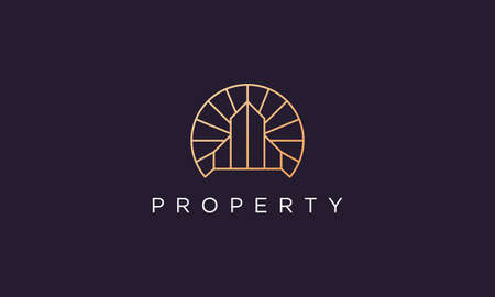 luxury and high-class property abstract logo design in a simple and modern style 矢量图像
