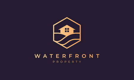 hotel logo with a hexagon base shape with ocean wave and window 矢量图像