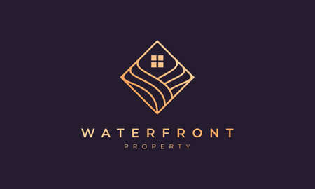 agent property logo with square line that form ocean wave