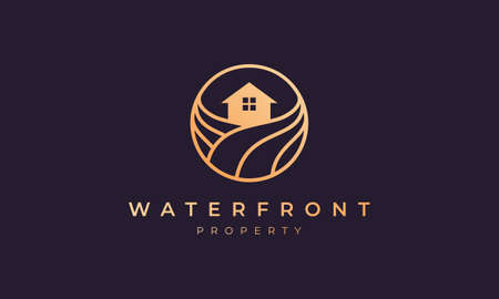 apartment logo of gold line with house in circle shape with ocean wave 矢量图像