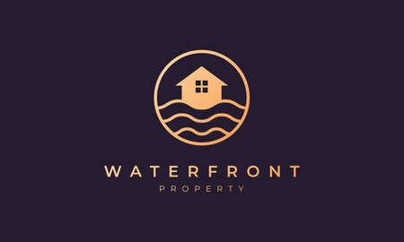 real estate agency logo of gold line with house in circle shape with ocean wave