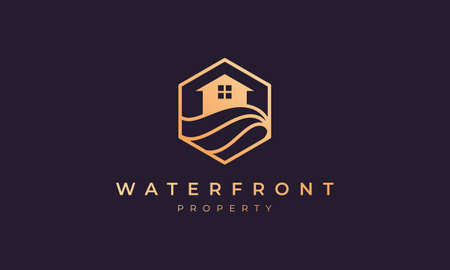 logo property with a hexagon base shape with ocean wave and window