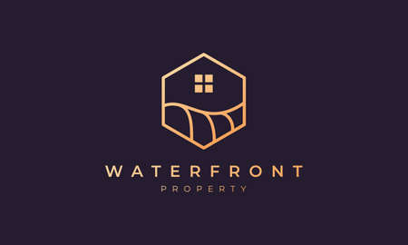 real estate logo with a hexagon base shape with ocean wave and window 矢量图像