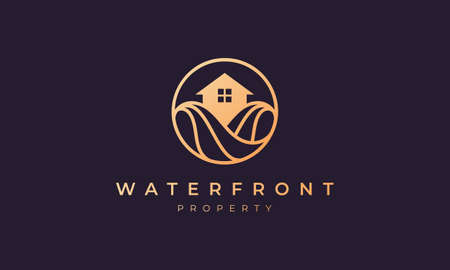 Property logo of gold line with house in circle shape with ocean wave