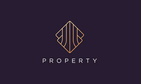 luxury and classy logo design template for real estate business in a professional and modern style 矢量图像