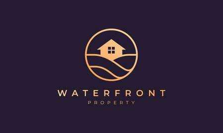 Real estate logo of gold line with house in circle shape with ocean wave