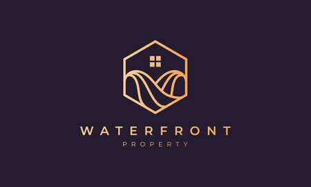 property agent logo with a hexagon base shape with ocean wave and window 矢量图像