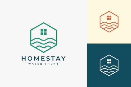 Ocean or waterfront apartment logo in simple line and hexagon shape Logo