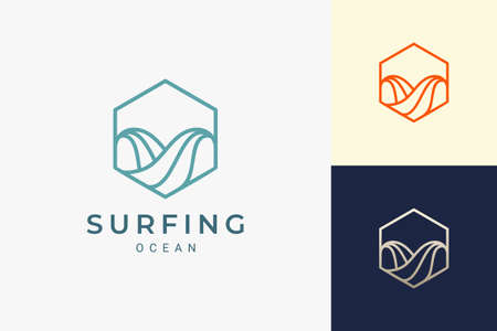 Ocean wave or surf logo in simple hexagon shape Logo