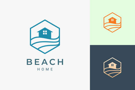Sea or beach theme hotel logo in simple line and hexagon shape Logo