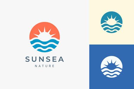 Beach or coast logo in simple sun and ocean shape Logo