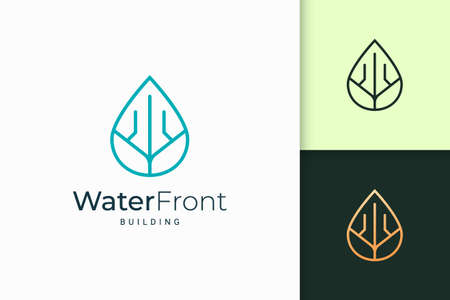 Waterfront apartment or property logo in simple line shape Logo