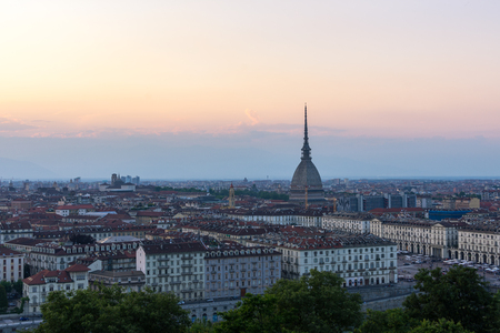 shroud: View at the sunset of Turin from Monte dei Cappuccini