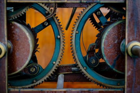 milánó: Detail on gear wheels used in a clock, show of antique clocks in Milan
