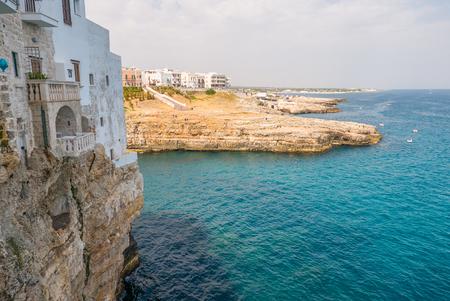 Polignano a mare breathtaking sight, Puglia, Italy. Italian panorama. Cliffs on adriatic sea.
