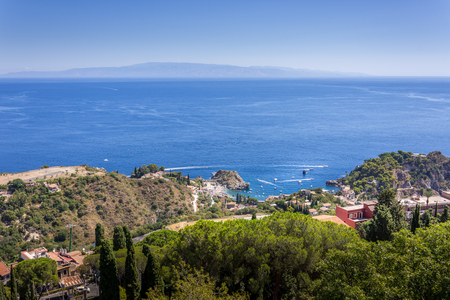panorama of the coast of Ionian sea from greek theater in Taormina  in a summer day,sicily ,Italy Stock Photo