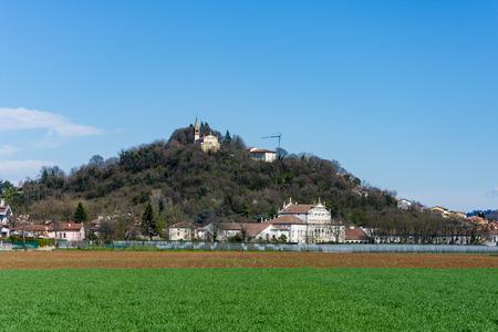 View of the Villa Morosini in Altavilla Vicentina with the church on the hill,veneto Stock Photo