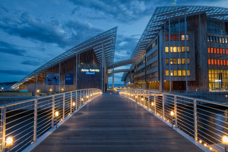 OSLO, NORWAY - APRIL 26, 2018: The Astrup Fearnley Museum of Modern Art at the blue hour. It is a privately owned contemporary art gallery in Oslo, Norway.