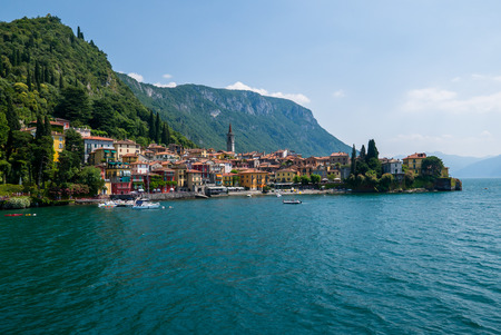 View of Varenna town one of the small beautiful towns on Como lake seen from ferry, Lombardy, Italy