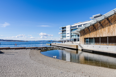 The back of the Astrup Fearnley Museum of Modern Art in Oslo overlooks the fjord. Norway