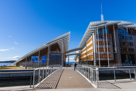 OSLO, NORWAY - APRIL 26, 2018: The Astrup Fearnley Museum of Modern Art . It is a privately owned contemporary art gallery in Oslo, Norway.