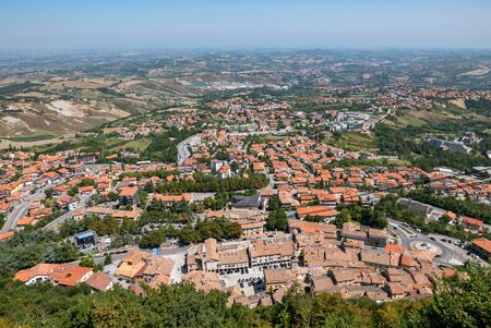 The cable car from the village to the Fortress of San Marino seen from above.