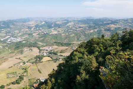 Panoramic view of the  valleys surrounding San Marino, a small independent country surrounded by Italian territory.