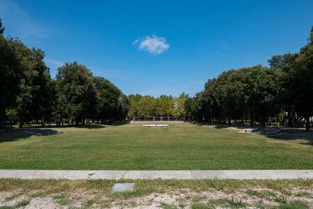 Public gardens behind basilica of Santa Maria in Porto in Ravenna, Italy