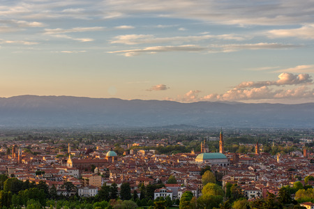 Panorama of Vicenza at the sunset, Italy