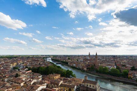 Panoramic view of Verona taken from Castel San Pietro, Italy