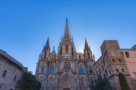 The Cathedral of Barcelona, detail of the main facade in typical gothic style with stone friezes and gargoyles. Barri Gotic, Barcelona. Spain.