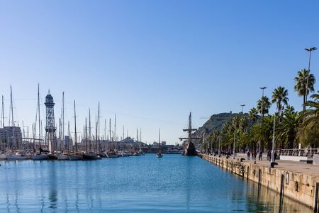 Sailboats in the harbour of Barcelona. Spain.
