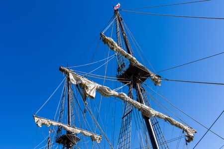 Details of masts of sailboats in the Harbour of Barcelona. Spain.